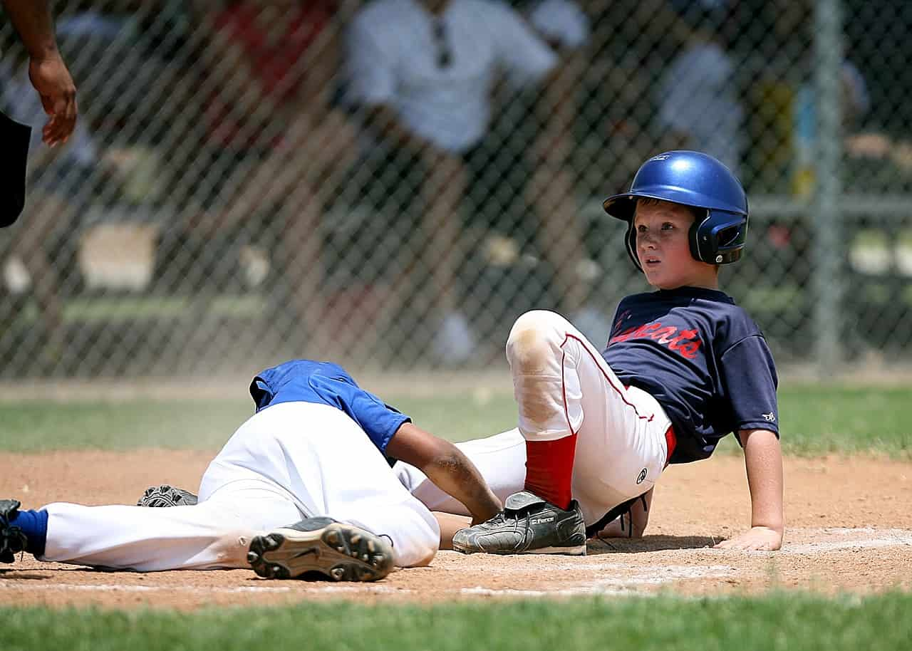 music and sports; kids playing baseball