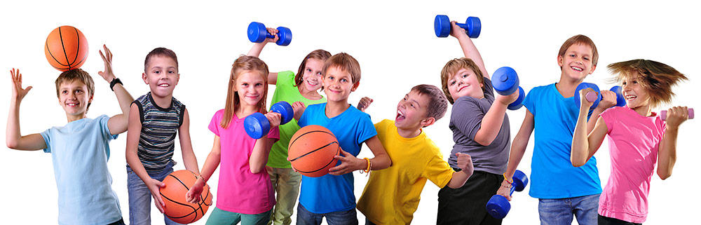 music and sports; kids playing different sports