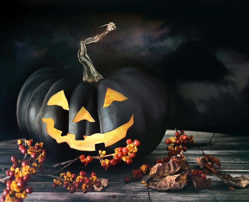 Black pumpkin on a table