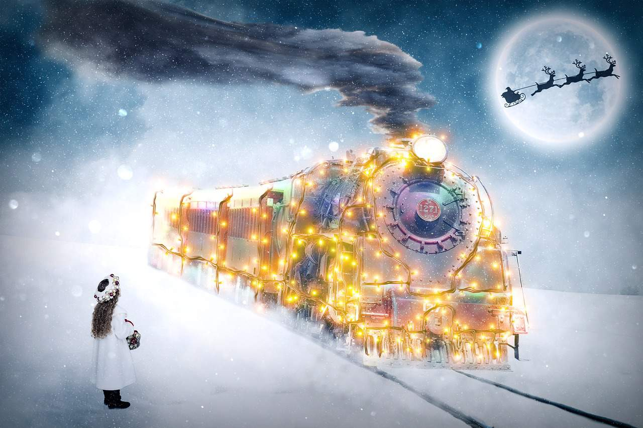 Child and a Christmas train