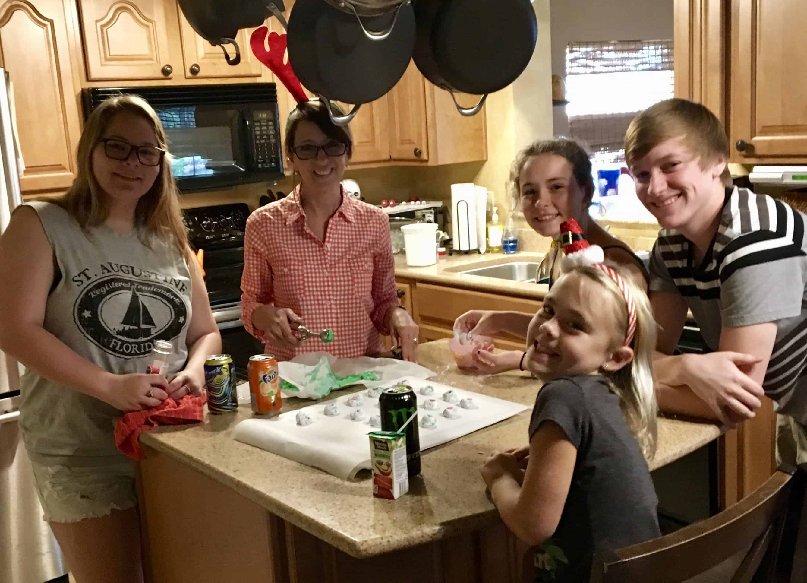 Grandparent activities: grandchildren making cookies with grandma