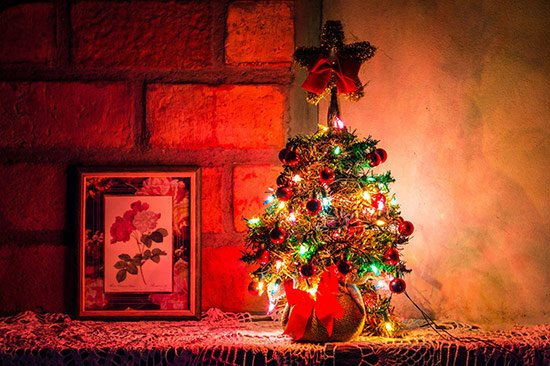 Christmas traditions, Christmas tree on a shelf